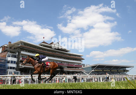 Crystal Ocean ridden by Ryan Moore wins the Al Rayyan Stakes during the Al Shaqab Lockinge Day at Newbury Racecourse. - Stock Photo