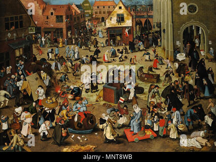 English: Battle of Carnival and Lent   1559.   991 Pieter Brueghel the Younger, The Battle Between Carnival and Lent. Oil on oak panel. Sothey's - Stock Photo