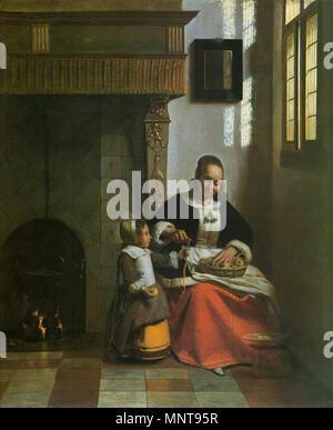Woman Peeling Apples   circa 1663.   992 Pieter de Hooch - Woman Peeling Apples - WGA11704 - Stock Photo