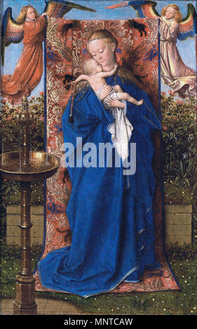 Madonna and Child at the Fountain *oil on panel *19 x 12,5 cm *1439   Madonna and Child at the Fountain  1439.   703 Jan van Eyck - Madonna and Child at the Fountain - WGA7619 - Stock Photo