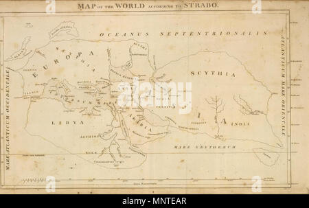 . Deutsch: Map of the World According to Strabo (1814). Bye, J., engraver. 1814.   James Playfair  (1738–1819)    Alternative names Playfair, Principal; Principal Playfair, St. Andrews  Description British academic  Date of birth/death 1738 1819  Authority control  : Q14500320 VIAF: 67993865 1010 Playfair, Principal. Map of the World According to Strabo. 1814 A - Stock Photo