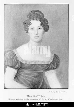 Portrait of Mary Ann Mantell, the daughter of G E Woodhouse and wife of Dr Gideon Mantell. She is commonly thought to have found the first Iguanodon tooth in 1822.    . English: Portrait of Mary Ann Mantell. Caption: 'Mrs. Mantell From a Painting in the Possession of W. M. Woodhouse, Esq.' . 19th century. uncredited 1020 Portrait of Mary Ann Mantell - Stock Photo