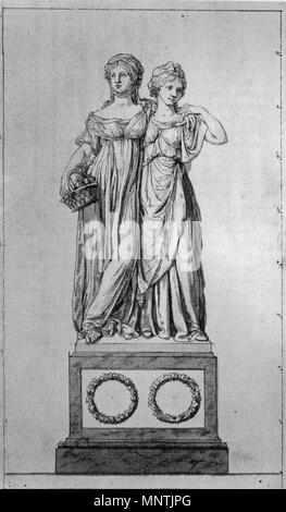 . English: The 'Prinzessinnengruppe' (Luise von Mecklenburg-Strelitz and her sister Friederike). Pen-and-ink drawing by Johann Gottfried Schadow, 1795. Deutsch: Die Prinzessinnengruppe (Luise von Mecklenburg-Strelitz und ihre Schwester Friederike). Federzeichnung von Johann Gottfried Schadow, 1795. 1795.   Johann Gottfried Schadow (1764–1850)   Description German sculptor, painter and graphic artist  Date of birth/death 20 May 1764 27 January 1850  Location of birth/death Berlin Berlin  Work location Berlin  Authority control  : Q51989 VIAF:27170885 ISNI:0000 0001 2125 3232 ULAN:50002033