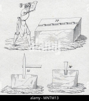 . English: quarryman at work (copper engraving 1833) Deutsch: Steinhauer bei der Arbeit (Kupferstich 1833) . 1833. Unknown 1034 Quarryman 1833 - Stock Photo