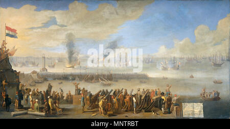 The naval battle near Livorno, 14 March 1653: incident of the first Anglo-Dutch War  between 1653 and 1660.   1169 The Battle of Livorno (Leghorn) march 14 1653 (Johannes Lingelbach, 1660) - Stock Photo