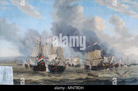 The naval battle near Livorno, 14 March 1653  between 1653 and 1664.   1048 Reinier Nooms - De zeeslag bij Livorno - Stock Photo