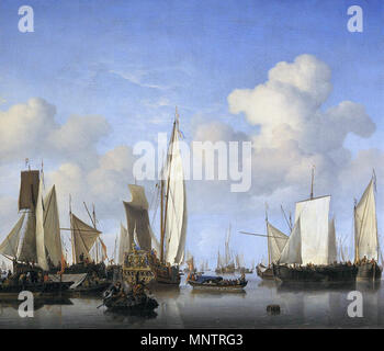 Ships in the Roads   circa 1658.   1099 Schepen op de rede - Ships on the roadstead (Willem van de Velde II) - Stock Photo