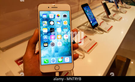 BANGKOK, THAILAND - NOVEMBER 11, 2017: iPhone 8 Plus is showing at iStudio Shop CentralWorld Shopping Mall for a customer to test the new iPhone using - Stock Photo