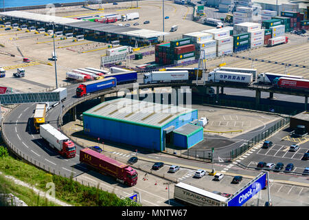 Queue of lorries waiting to leave the port of Dover UK - Stock Photo