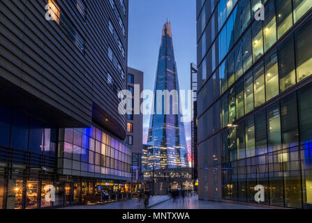 The Shard skyscraper and Modern Office Blocks, Southwark, London, England, UK - Stock Photo