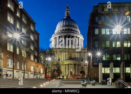 St Pauls Cathedral from Peters Hill at night, London, England, UK - Stock Photo