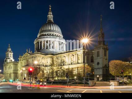 St Pauls Cathedral at night, London, England, UK - Stock Photo