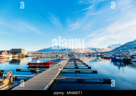 Beautiful town of Tromso in Northern Norway - Stock Photo