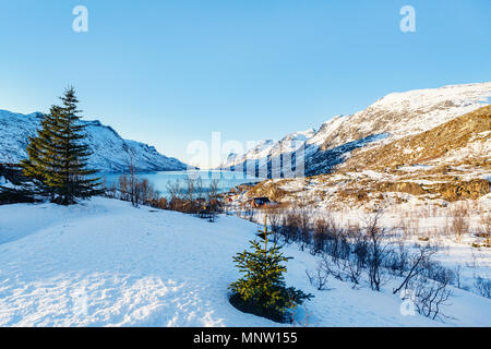 Winter landscape of breathtaking fjords scenery of Senja island in Northern Norway - Stock Photo