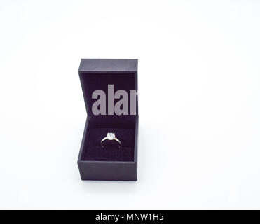 Diamond ring, engagement ring isolated in box, wedding ring, jewelry background - Stock Photo