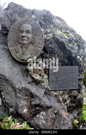 The Memorial of First Foreign Mt. Fuji Hiker Sir Rutherford Alcock located in Mt. Fuji's Half Way to the Top. Mt. Fuji is the most famous mountain in  - Stock Photo