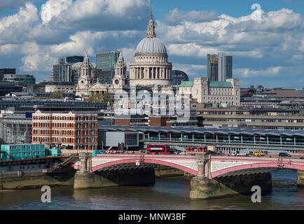 St Paul's Cathedral, Blackfriars Bridge & the River Thames, London, England, UK - Stock Photo