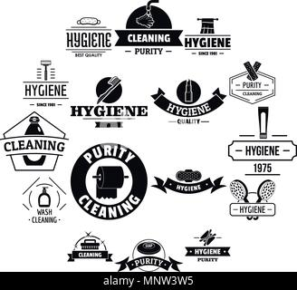 Hygiene logo icons set, simple style - Stock Photo