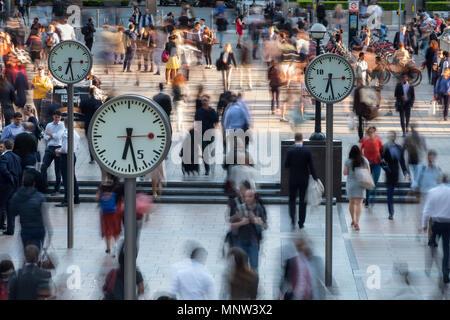 Time and Motion, Six Public Clocks, Canary Wharf, London, England, UK