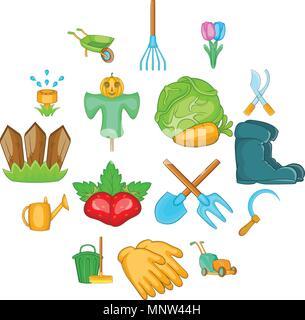 Garden icons set, cartoon style - Stock Photo