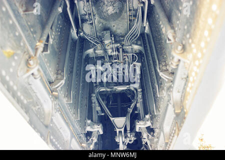Engine of fighter jet in the army aviation - Stock Photo