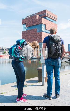 Tourists taking Pictures of museum aan de Stroom - Stock Photo