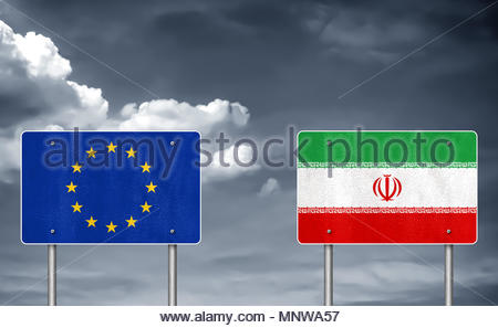 European Union and Iran partnership - Stock Photo