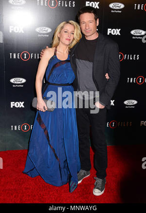 Gillian Anderson, David Duchovny 016  at The X-Files Premiere at California Science Center in Los Angeles, CA  January 12, 2016.Gillian Anderson, David Duchovny 016 ------------- Red Carpet Event, Vertical, USA, Film Industry, Celebrities,  Photography, Bestof, Arts Culture and Entertainment, Topix Celebrities fashion /  Vertical, Best of, Event in Hollywood Life - California,  Red Carpet and backstage, USA, Film Industry, Celebrities,  movie celebrities, TV celebrities, Music celebrities, Photography, Bestof, Arts Culture and Entertainment,  Topix, vertical,  family from from the year , 2016, - Stock Photo