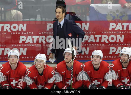 COPENHAGEN, DENMARK - MAY 19, 2018: Head coach Patrick Fischer (C back) of the Swiss team in their 2018 IIHF World Championship semi-final match against Canada at Royal Arena in Copenhagen. Anton Novoderezhkin/TASS - Stock Photo