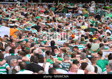 Hampden Park, Glasgow, UK. 19th May, 2018. Scottish Cup football final, Celtic versus Motherwell; Celtic fans do the poznan huddle Credit: Action Plus Sports/Alamy Live News - Stock Photo