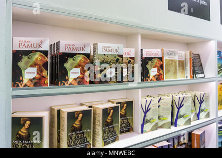 Warsaw, Poland. 19th May 2018. The four-day 9th International Warsaw Book Fair take place in the Polish capital city. The book fair in Warsaw is one of the oldest fairs in Europe. Books by Orhan Pamuk. Credit: dario photography/Alamy Live News - Stock Photo