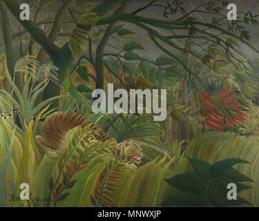 English: Tiger in a Tropical Storm (Surprised!)   1891.   1075 Henri Rousseau - Surprise! - Stock Photo