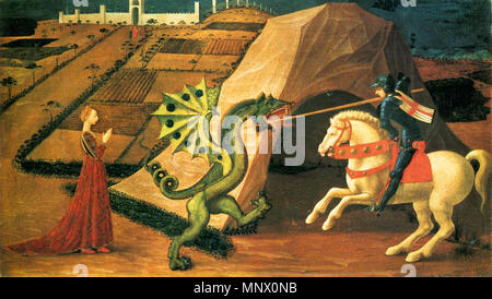 English: St George and the Dragon   between 1458 and 1460.   1084 Saint George and the Dragon by Paolo Uccello (Paris) 01 - Stock Photo