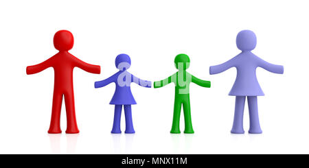 Family concept. Four colorful human figures isolated on white background. 3d illustration - Stock Photo