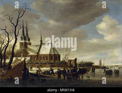 A Winter Landscape   1650s.   1087 Salomon van Ruysdael - A Winter Landscape - WGA20573 - Stock Photo