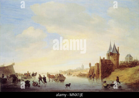 Winter Landscape at Arnhem   1653.   1087 Salomon van Ruysdael - Winter Landscape near Arnhem - Stock Photo