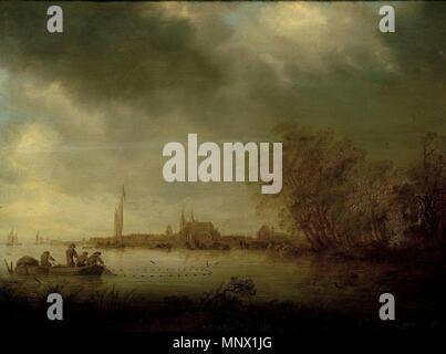 River Scene near Deventer   1641.   1087 Salomon van Ruysdael 005 - Stock Photo