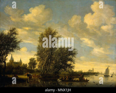 River Landscape with Ferry [before restoration]  1649.   1087 Salomon van Ruysdael River Landscape with Ferry 1649 before restoration - Stock Photo