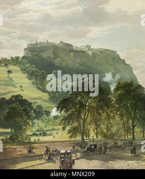 . Edinburgh Castle from Princes Street. Indistinctly inscribed (lower right). oil on canvas. 156 x 125 cm . by 1878.   1089 Samuel Bough Edinburgh Castle from Princes Street - Stock Photo