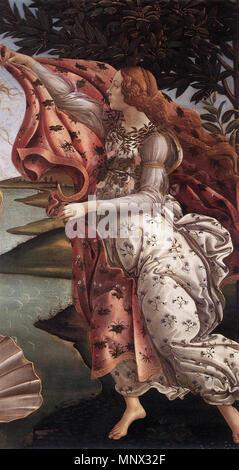 The Birth of Venus (detail)   circa 1485.   1093 Sandro Botticelli - The Birth of Venus (detail) - WGA2775 - Stock Photo