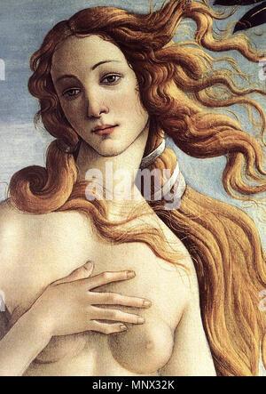 The Birth of Venus (detail)   circa 1485.   1093 Sandro Botticelli - The Birth of Venus (detail) - WGA2774 - Stock Photo
