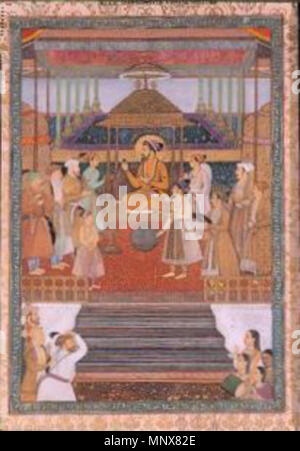 . English: Portrait of the Emperor Shah Jahan on the 'Peacock Throne'. Creation place: India Court: Mughal Series: Shah Jahan with his sons and nobles (L'empereur Shâh Jahân sur le Trône du Paon (Padshâh-nâma)); Celebration of Shah Jahan's Forty-sixth Solar Birthday; Shah Jahan on the Peacock Throne; Shha Jahan enthroned; Celebration of Shah Jahan's 46th Solar Birthda Media & Support: Opaque watercolor and gold on paper, mounted as an album page Display Dimensions: 14 7/16 in. x 9 27/32 in. (36.7 cm x 25 cm) Credit Line: Edwin Binney 3rd Collection Accession Number: 1990.352 . 1640. 'Abid, son - Stock Photo