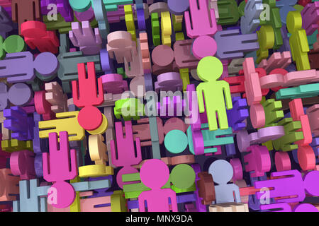 People symbols colored chaotic mix, 3d illustration, horizontal