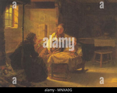 En Signekjerring .  English: a folk magic ritual. The old woman is performing a divination to determine the cause of the child's illness as the mother watches. . 1848.    Adolph Tidemand  (1814–1876)     Alternative names Adolphe Tidemand; adolf tidemand; tidemand; adolph tidemand  Description Norwegian painter  Date of birth/death 14 August 1814 25 August 1876  Location of birth/death Mandal Oslo (Christiania)  Work location Düsseldorf; Copenhagen  Authority control  : Q365544 VIAF: 4986647 ISNI: 0000 0001 2118 6498 ULAN: 500007117 LCCN: n82117540 GND: 119146215 WorldCat 1120 Signekjerring - Stock Photo