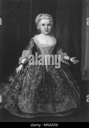 .  English: Portrait of Princess Maria Christina of Saxony (1735–1782) . circa 1745.   1121 Silvestre - Maria Christina of Saxony as child - Stock Photo