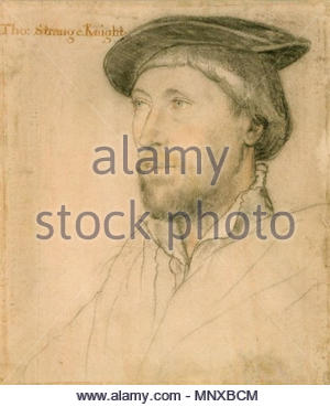 . English: Portrait of Sir Thomas Strange of Hunstanton. Black and coloured chalks on pink-primed paper, 24.4 × 21.2 cm, Royal Collection, Windsor Castle. Some outlines have been worked over by later hands. Sir Thomas Strange or le Strange (1494–1545) was appointed High Sheriff of Norfolk, his home county, in 1532. In 1536, prior to the dissolution of the monasteries, he investigated the revenues of Walsingham Abbey with Sir Richard Southwell, whom Holbein also drew and painted. His brother-in-law was Thomas Vaux, 2nd Baron Vaux of Harrowden, whom Holbein drew twice, with long hair and with sh - Stock Photo