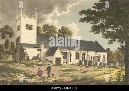 . English: St. Peter's Church, Caversham, Reading, from the south, showing the wooden tower and part of the churchyard. 1800-1809 : print, drawn and engraved by Charles Tomkins, published 1804, from Tomkins' 'Views of Reading Abbey.' Black and white version at Dynix 1204766. between 1800 and 1809. Charles Tomkins 1139 St. Peter's Church, Caversham, 1800-1809 - Stock Photo