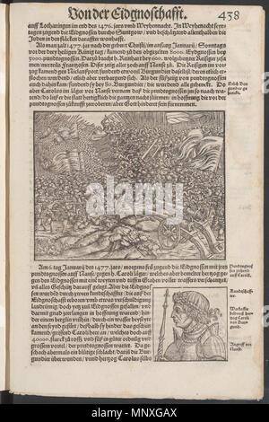 . Schlacht von Nancy 1477 in der Eidgenössischen Chronik von Johannes Stumpf . 1548. Stumpf, Johannes 1148 Stumpf nancy 1477 - Stock Photo