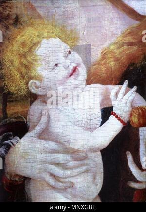 . Deutsch: Stuppacher Madonna, Detail: Jesuskind . 1519.   Mathias Grünewald    Alternative names Mathis Gothart-Nithart, Mathis Nithart-Gothart, Matthias von Aschaffenburg, MGN, MG  Description German painter and graphic artist  Date of birth/death circa between 1475 and 1480 31 August 1528 / 1528  Location of birth/death Probably Würzburg Halle  Work period from circa 1503 until circa 1525  Work location Germany (Nuremberg (first half of 1500s), Aschaffenburg (second half of 1500s, between 1517 and 1519), Mainz (1519/20?), Frankfurt (circa 1510/11, 1526), Halle (circa between 1521 and 1 - Stock Photo