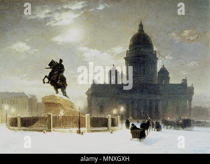 Vas.Surikov. Bronze Horseman on the Senate Square. Rusian Museum    .  English: Bronze horseman by Vasily Ivanovich Surikov in front of Saint Isaac's Cathedral or Isaakievskiy Sobor (Russian: Исаа́киевский Собо́р) in Saint Petersburg, Russia is the largest Russian Orthodox cathedral (sobor) in the city      Vasily Surikov (1848–1916)   Alternative names Russian: Василий Иванович Суриков  Description Russian painter  Date of birth/death 12 January 1848 (in Julian calendar) 6 March 1916 (in Julian calendar)  Location of birth/death Krasnojarsk Moscow  Work location Moscow  Authority control  - Stock Photo